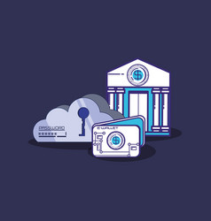Financial technology set icons vector