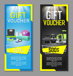fitness gift voucher template set vector image