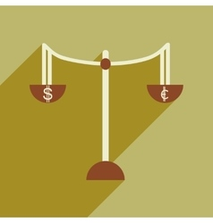 Flat with shadow icon Scales and money vector