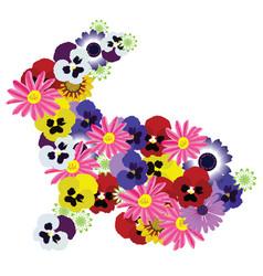 floral bunny vector image