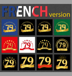 french set of number 79 templates vector image