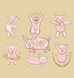 funny pigs a set of pigs engaged in sports vector image