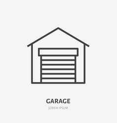Garage flat line icon thin sign of vector