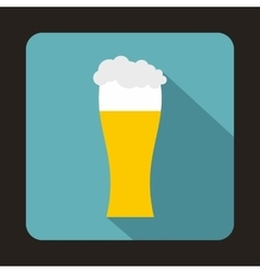Glass of beer icon in flat style vector image