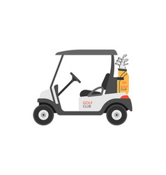 Golf car with club bag vector