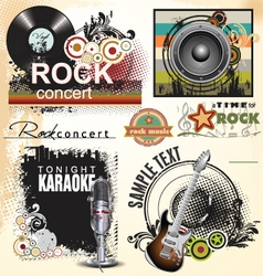 Grunge music banner set vector