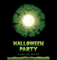 Halloween party circle silhouette greeting vector