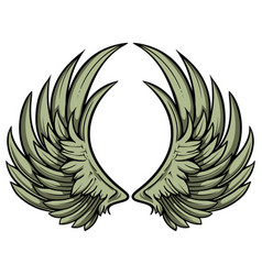 hand drawn pair of wings vector image