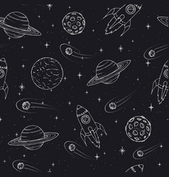 hand drawn pattern with jupiter mars rockets vector image
