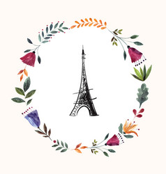 hand drawn with eiffel tower vector image