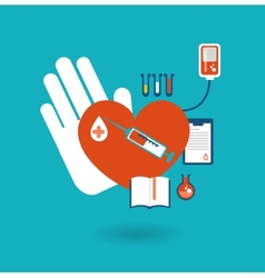 hand holding a donor heart ready for blood vector image