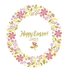happy easter card flowers vector image