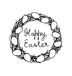 happy easter card with eggs and wreath vector image