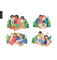 Happy international family with kids -family vector