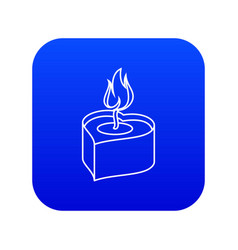 Heart candle icon blue vector