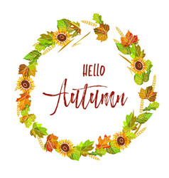 hello autumn postcard with colorful leaves and vector image