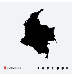 High detailed map colombia with navigation pins vector
