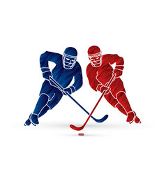 hockey player action graphic vector image