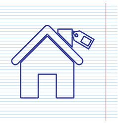 home silhouette with tag navy line icon vector image