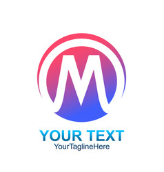 initial letter m logo template colorful circle vector image