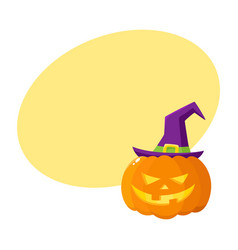Jack o lantern pumpkin in pointed witch hat vector