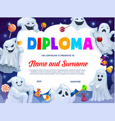kids diploma funny halloween ghosts and sweets vector image