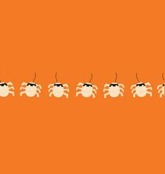 Kids halloween border mummy spiders seamless vector