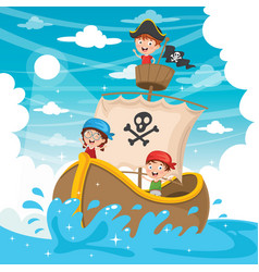 Kids pirate ship vector