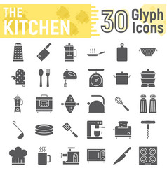 kitchen glyph icon set household signs vector image