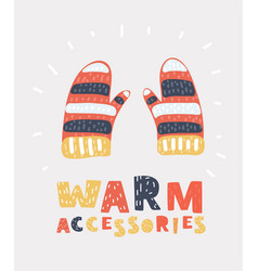 knitted mitten holiday gift vector image