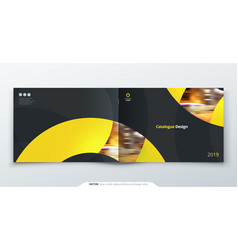 Landscape catalog design yellow corporate vector