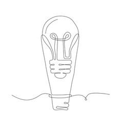 Lightbulb - one line design style vector