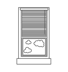 line window with curtain blind open and clouds vector image
