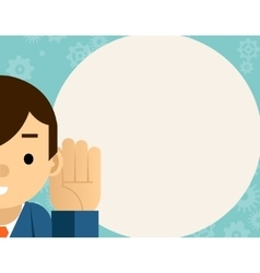 Listening Businessman holds hand near ear vector