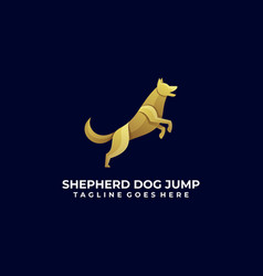 Logo dog jump gradient colorful style vector