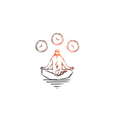 Meditation and relaxation concept sketch hand vector
