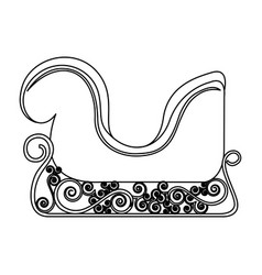 Monochrome contour of sleigh of santa claus vector