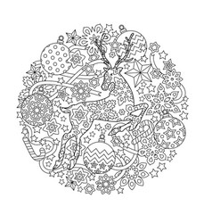 new year mandala with deer and festive objects vector image