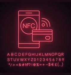 nfc technology neon light icon vector image