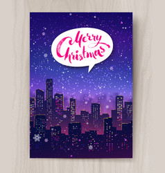 night cityscape christmas postcard design vector image