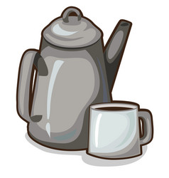 old coffee pot and a cup vintage crockery vector image