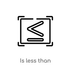 Outline is less than icon isolated black simple vector