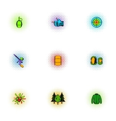 Paintball icons set pop-art style vector