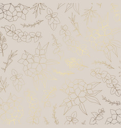 pattern with flowers with imitation gold vector image