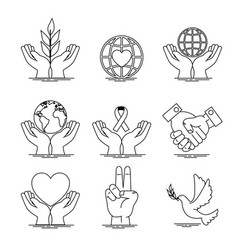 peace and love icon set design vector image