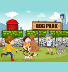 People in dog park vector