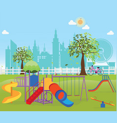 Playground in the public park in the city vector