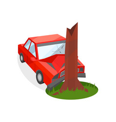 red car crashed into tree trunk damaged vector image