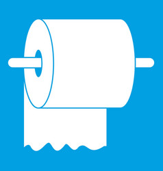roll of toilet paper on holder icon white vector image vector image