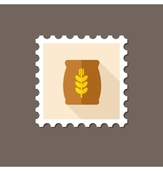 Sack of grain flat stamp with long shadow vector image